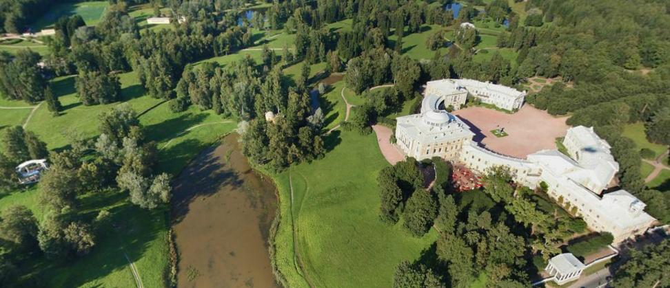 Павловский дворец, панорама, аэрофотоссъемка